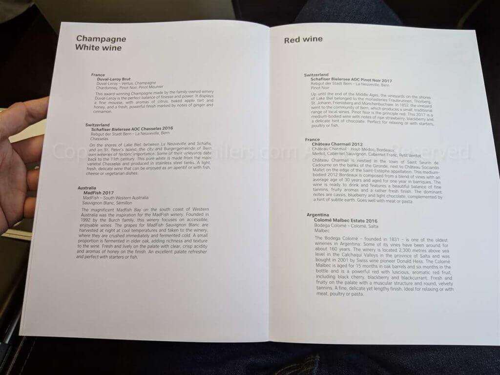 スイス航空ビジネスクラス 食事メニュー03