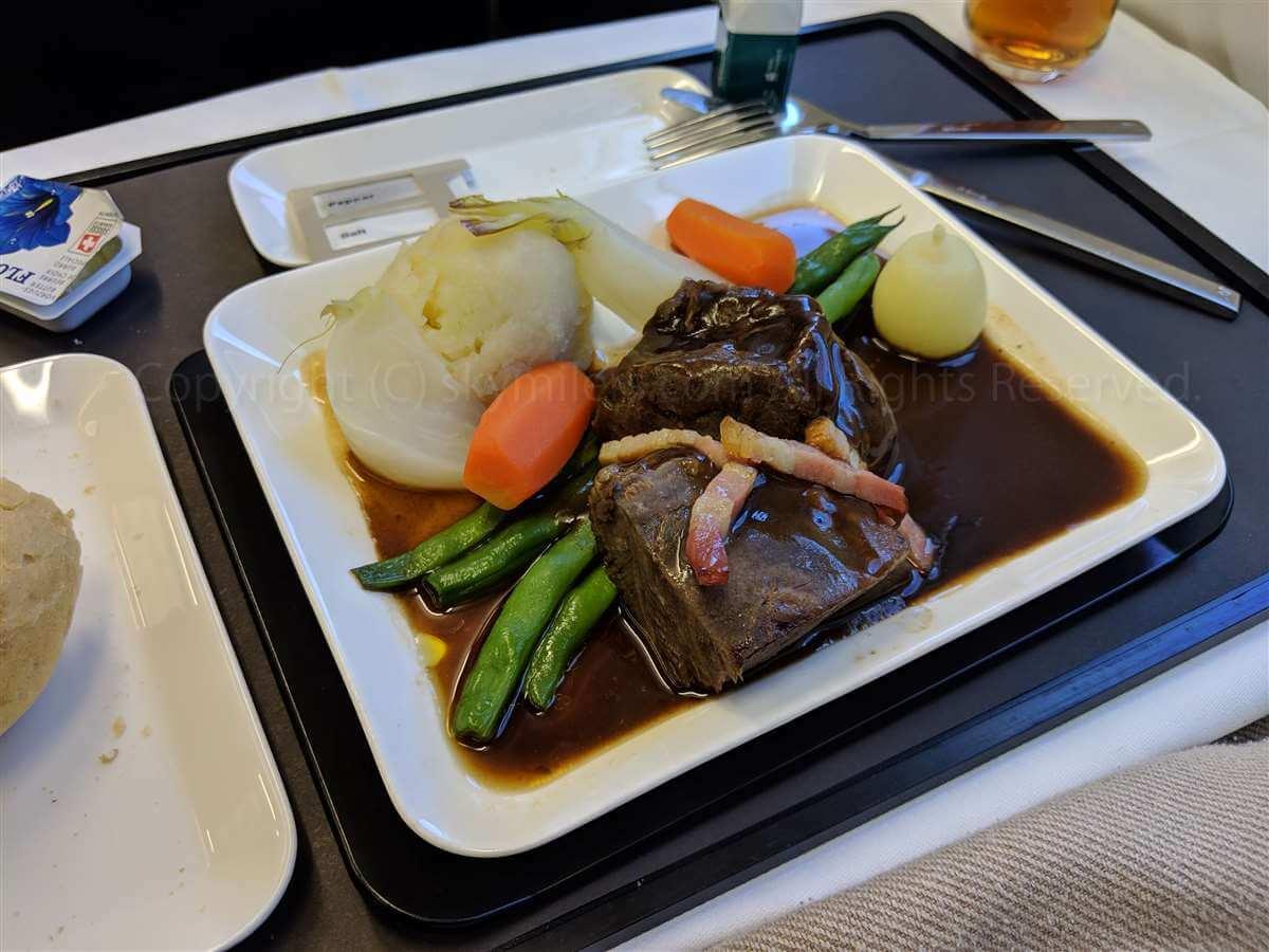 スイス航空ビジネスクラス 夕食