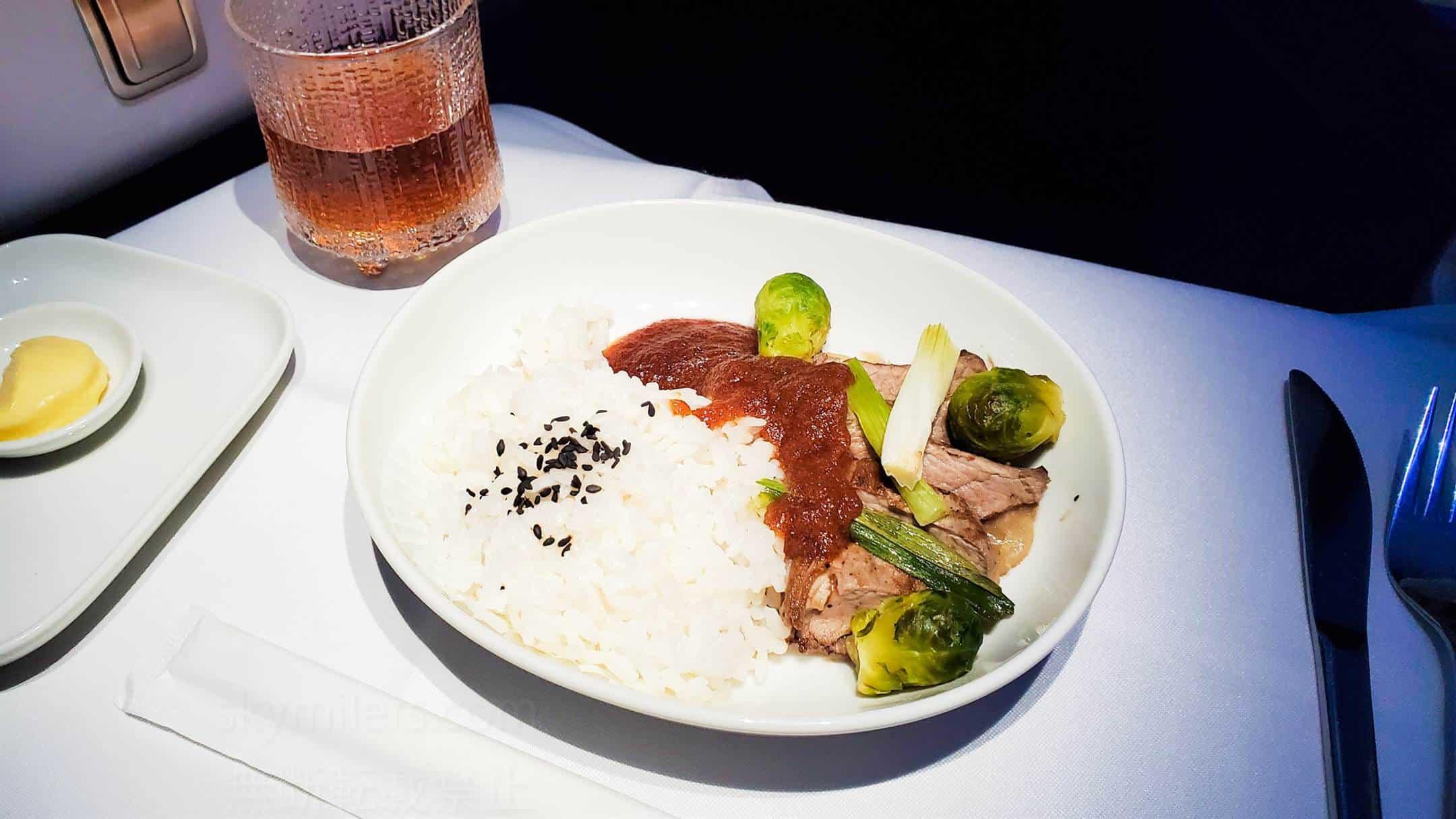 フィンエアー ビジネスクラス 主食 牛焼肉とおろし照焼きソース02